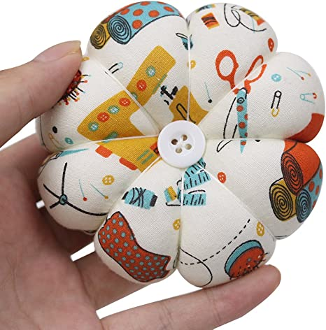 Pumpkin Wrist Pin Cushions and Wooden Base Floral Pin Cushions Wearable Needle Pincushions for Hand Sewing Needlework DIY Crafts 6 Pieces Pin Cushions Floral