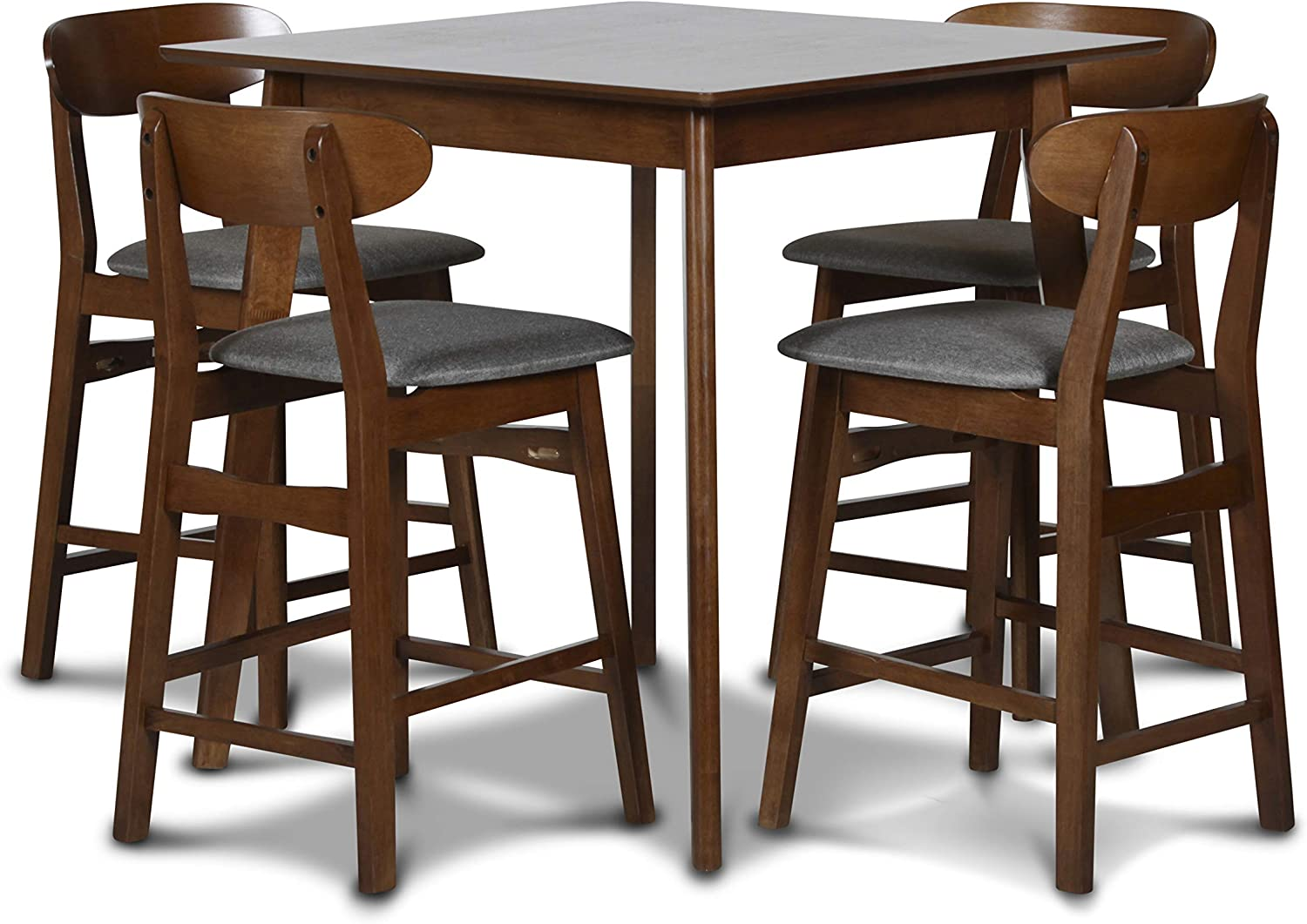 New Classic Furniture Morocco Dining Room Table Sets, 5-Piece Counter, Dark Gray