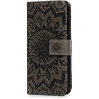 Huawei P Smart Case, Premium PU Leather Flip Notebook Wallet Case Sunflower Embossed with Kickstand Credit Card Slot Holder TPU Bumper Folio Protective Cover for Huawei P Smart/Enjoy 7S