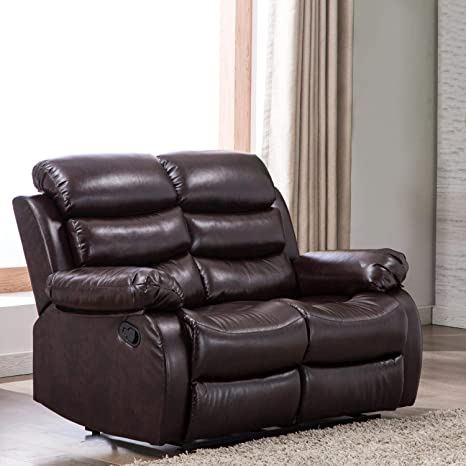 Amazing Harperbright Designs Loveseats Pu Leather Sofa Sectional Sofa Classic Recliner Chair Reclining Sofa Couch For Living Room Dark Brown Inzonedesignstudio Interior Chair Design Inzonedesignstudiocom