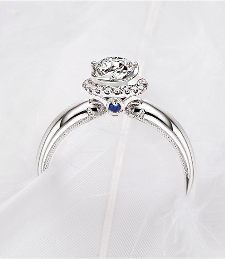 Anelli di nozze in oro bianco 18 carati per donne anello di fidanzamento con diamante da 1ct promesso, f-g, si HP9GZ0ZBR512
