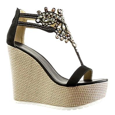 Angkorly Damen Schuhe Sandalen   T Spange   Plateauschuhe   Schmuck   Bestickt Keilabsatz High Heel 13 cm