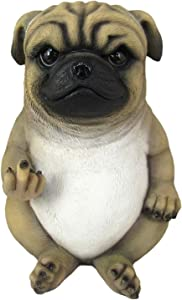 DWK Pug Life Middle Finger Pug Dog Statue   Pug Statue Décor for Your Home or Office   Desk Decorations   Gifts for Pug Lovers   Front Porch Greeting Statue - 7