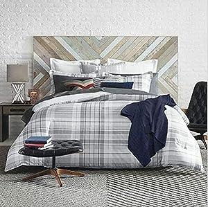 Tommy Hilfiger Parker Plaid Comforter Set, King, Grey/White