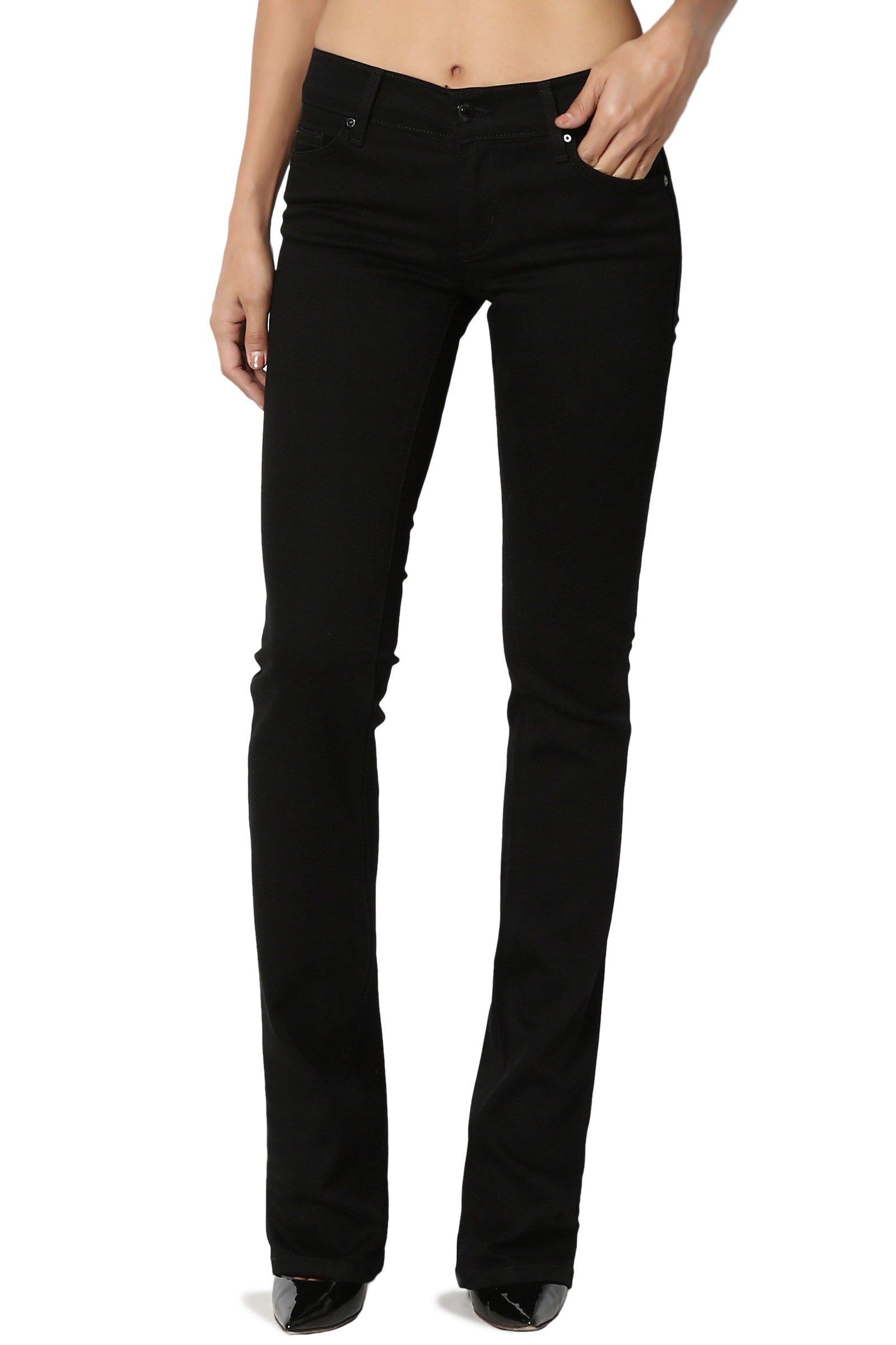 TheMogan Women's Low Rise Stretch Lightweight Slimming Bootcut Jeans Black 11