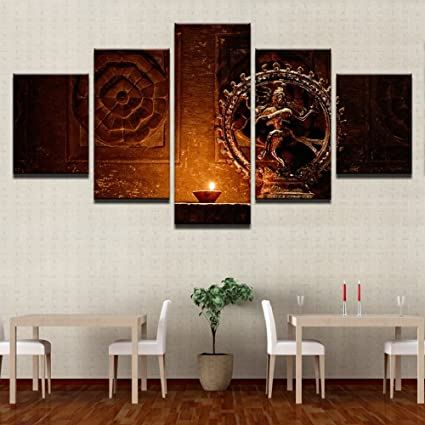 d74ce6963ac Image Unavailable. Image not available for. Color  Shiva Nataraja Painting Canvas  Printed Wall Art Poster 5 Pieces 5 Panel ...