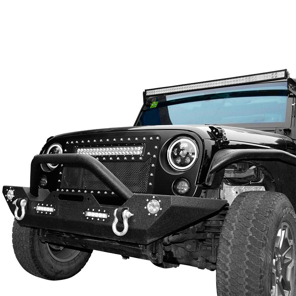 LEDKINGDOMUS Rock Crawler Front Bumper for 07-18 Jeep Wrangler JK with LED Light & D-rings & Winch Plate