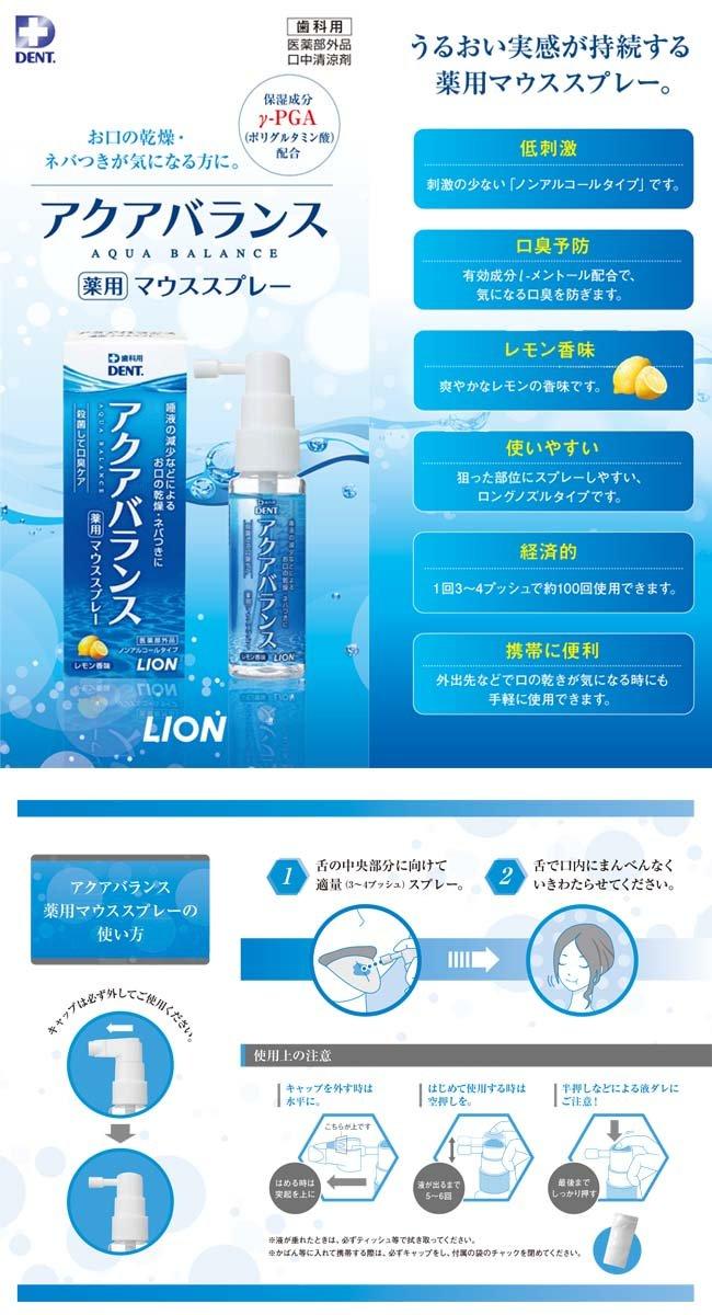 Lion AQUA BALANCE Medicated Mouthspray (30ml) 6 Bottles