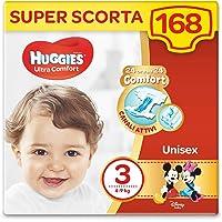 HUGGIES Ultra Comfort luiers, maat 3 (4-9 kg), 168 luiers (3 x 56)