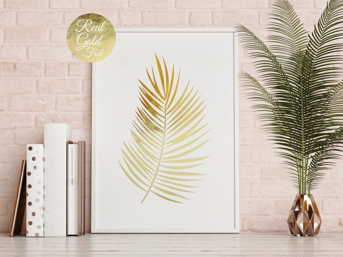 Amazon Palm Leaf Print Flower Illustration Gold Poster Real Foil Art Plant Floral Decor Beach Wall