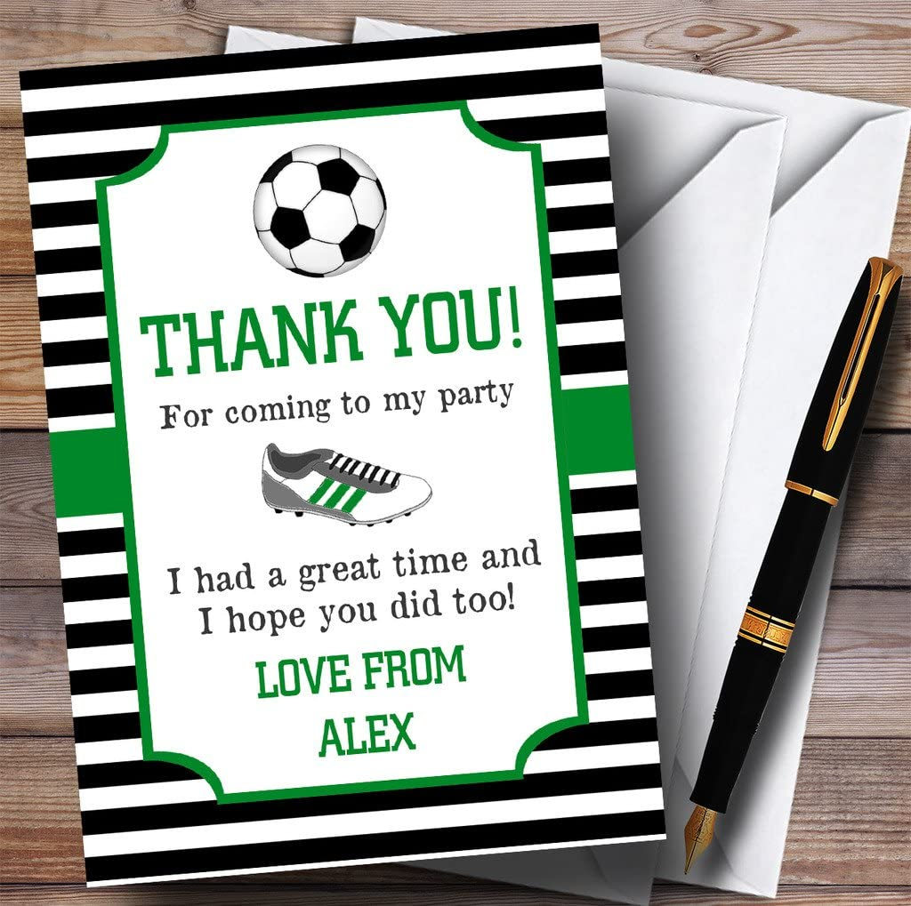 Striped Football Boot Party Thank You Cards