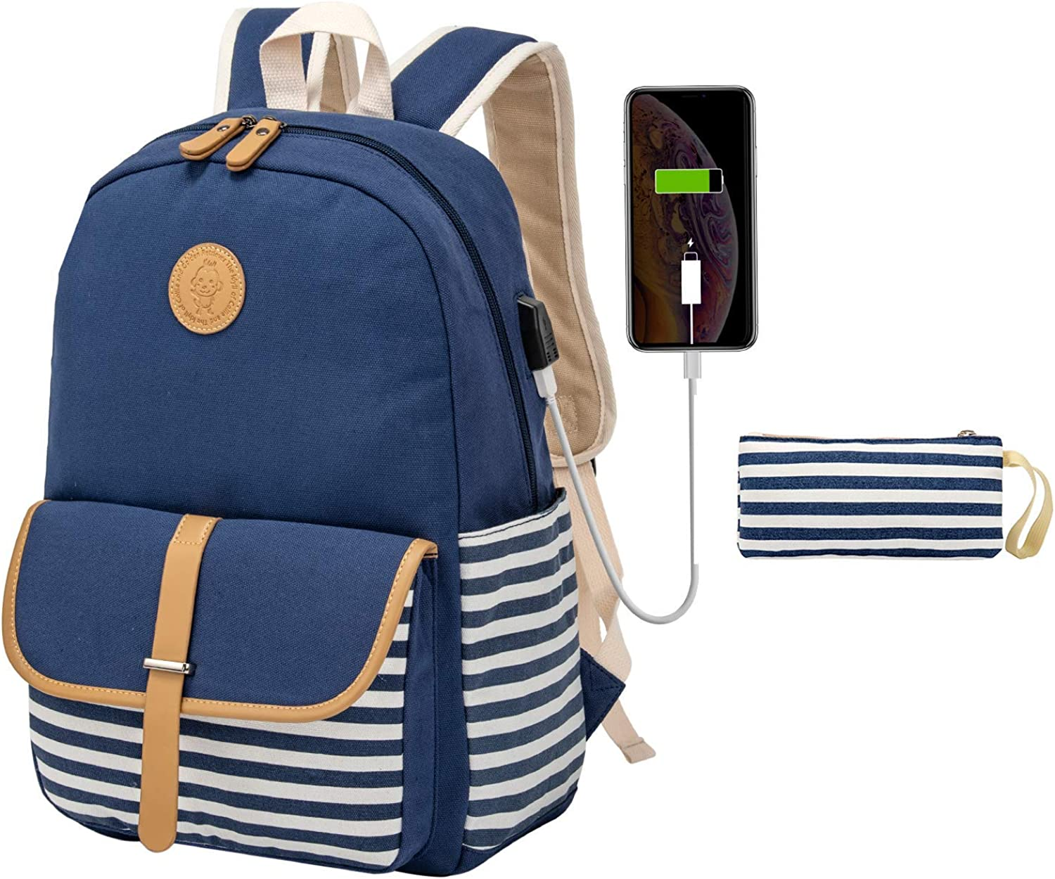 Kuston School Backpacks for Women Teen Girls with USB Charging Port Lightweight Canvas Book Bag Set 4 in 1