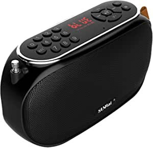 SUNhai Bluetooth Speaker Portable Wireless FM Radios Desktop Speaker J19 with HD Sound,TF,USB Player,USB,AUX Input,Built-in Microphone,Aux Cable,Support Hands-Free Call Black