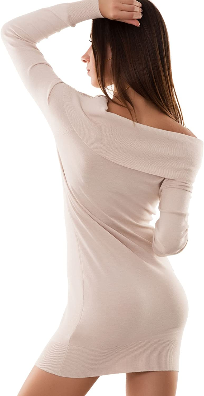 Miniabito donna pull pullover maxi maglia strass maglione nuovo P2712