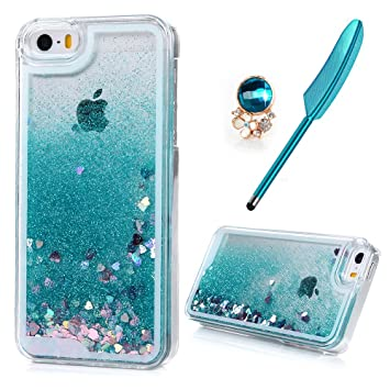 reputable site 1d5c8 0e446 iPhone SE/ 5S/ 5 Case MAXFE.CO Clear Flexible Phone Cover Shiny Glitter  Heart Shape Floating Liquid Tiffany Blue Slim Fit Protective Shockproof  Anti ...