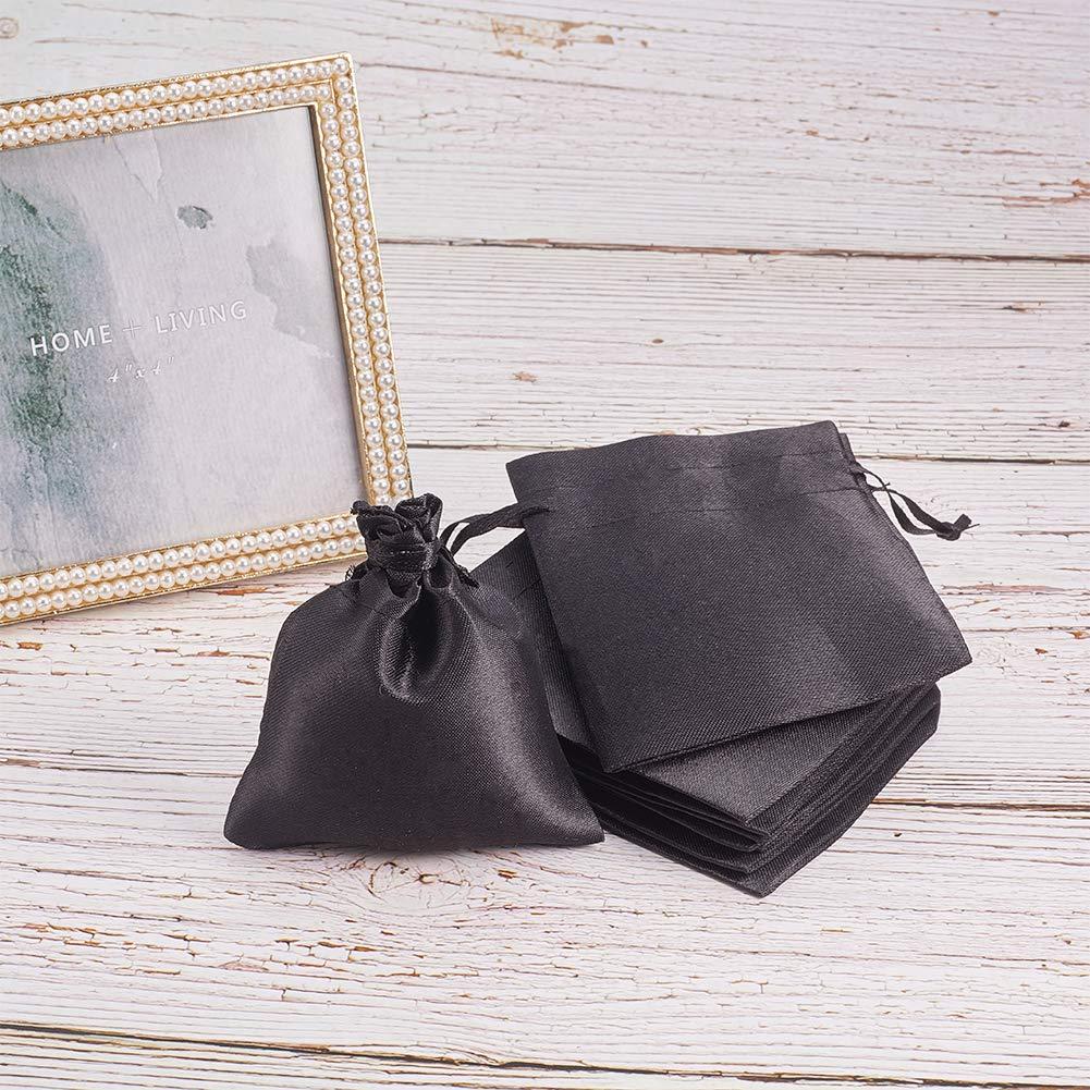 PandaHall 50pcs Nero Raso Sacchetti di Tessuto con Coulisse 10x8 cm Regalo dei monili favori Borsa per la Cerimonia Nuziale Nuziale Doccia Caramelle stoccaggio di Gioielli