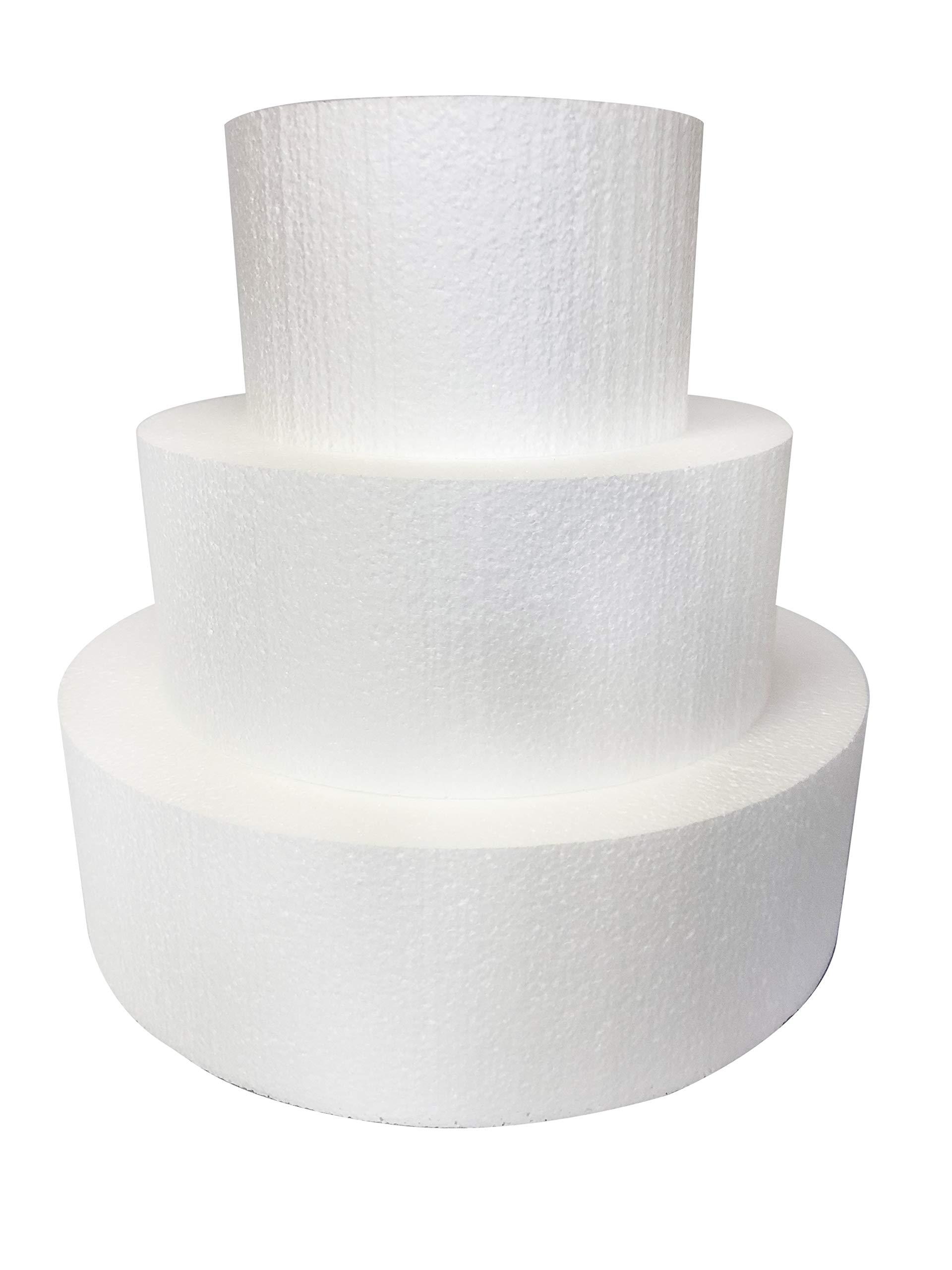 Round 5'' Cake Dummies - Set Of 3, Each 5'' High By 8'', 12'', 16'' Round
