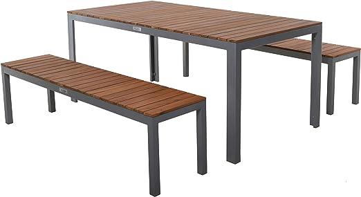 Villana - Juego completo de mesa y sillas de jardín (aluminio, madera de acacia FSC, para 6 personas, 180 x 90 cm): Amazon.es: Hogar