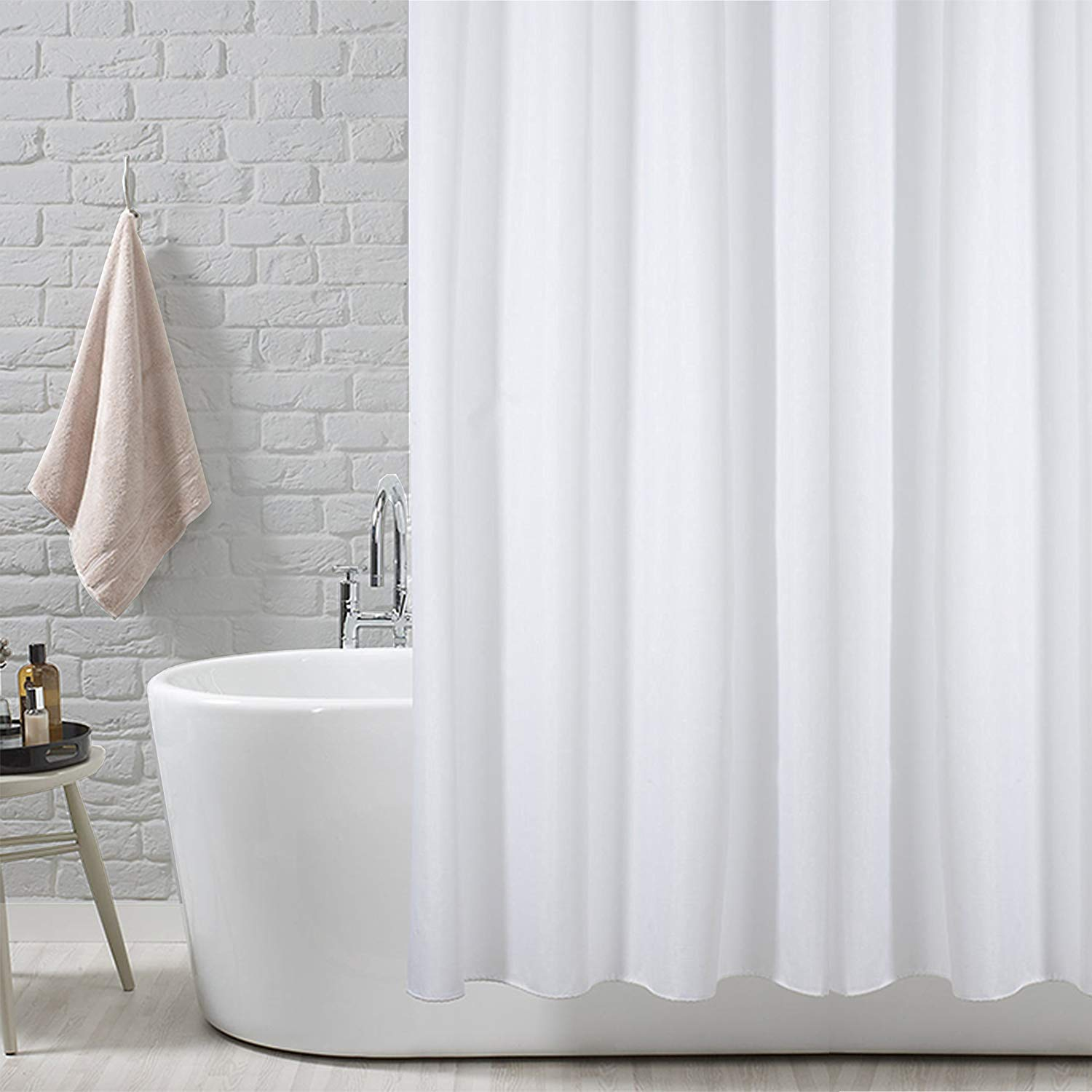 ANSIO Shower Curtain Liner Mildew Resistant Anti Bacterial 71 X Inches 180 Cm Solid White