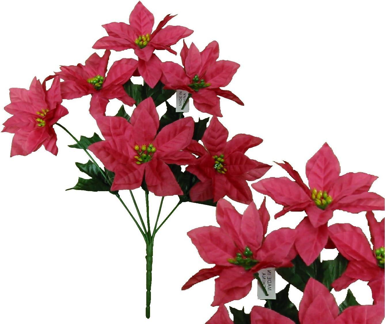 "Lot of 144 Yellow Poinsettia 14/""Bush Christmas Decor Artificial Silk Flower Home"