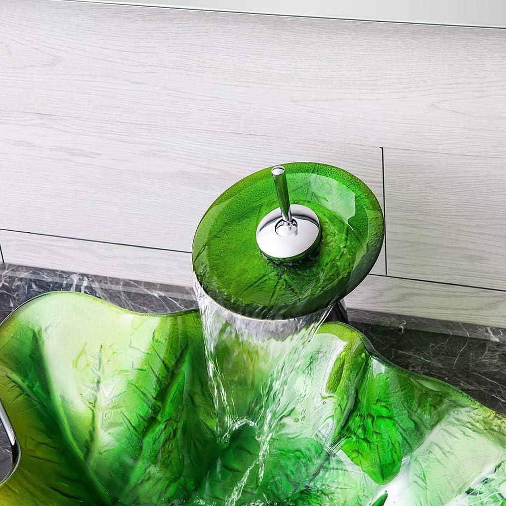 Bagno Lavandino durevole Lavabo in vetro temperato Lavabo da bagno Design moderno e minimalista Bacino creativo foglia arte@Foglia verde/_Tipo C