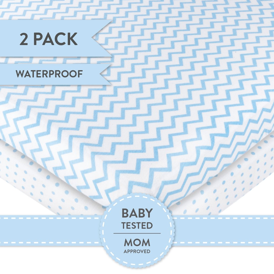 Pack N Play Portable Crib / Mini Crib Sheet Set 100% Jersey Cotton for Baby Boy by Ely's & Co. - Blue Chevron and Polka Dot 2 Pack by Ely's & Co (Image #3)