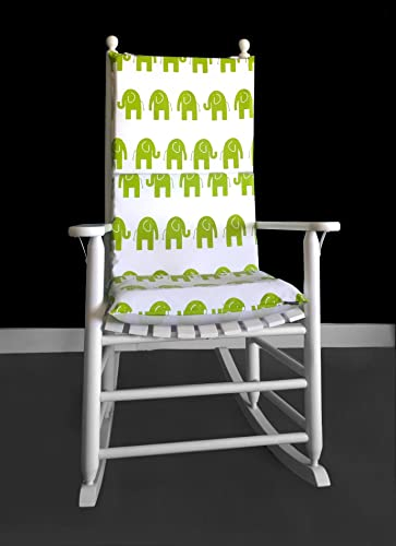 Rocking Chair Cushion   White Green Elephants