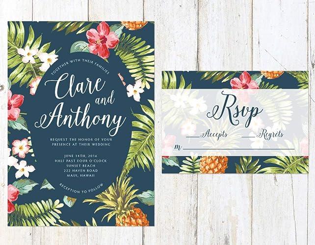 Amazon.com: Hawaiian Wedding Invitation, Tropical Wedding