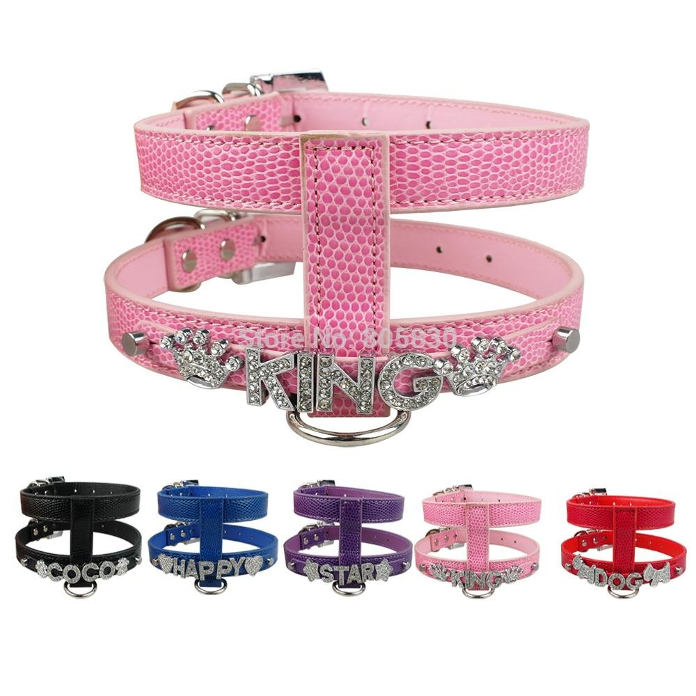 bluee L bluee L TecGeo(TM) Personalized Dog Harness DIY Pet Name Snake Skin PU Leather S M L Price Free Name Free Charm