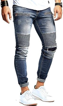 LEIF NELSON Herren Jeanshose Biker Jeans gesteppt Hose Stretch Blau Denim  Slim Fit LN9915  Amazon.de  Bekleidung 4a0394f272