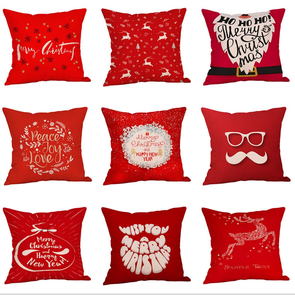 Christmas Pillow Covers Farmhouse Decorative Throw Pillow Cases 18 x 18 Inch Christmas Home Decoration Red