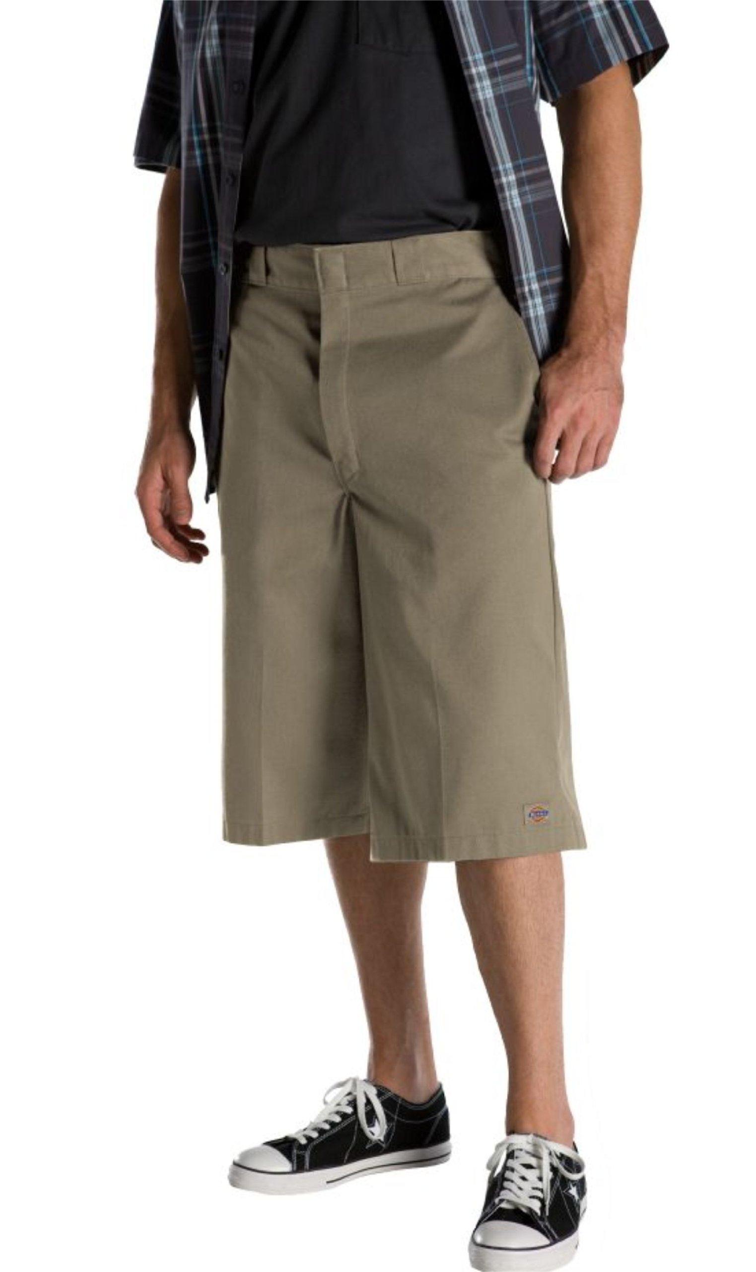 Dickies Men's Big 15 Inchloose Fit Multi-Pocket Work Short, Khaki, 46