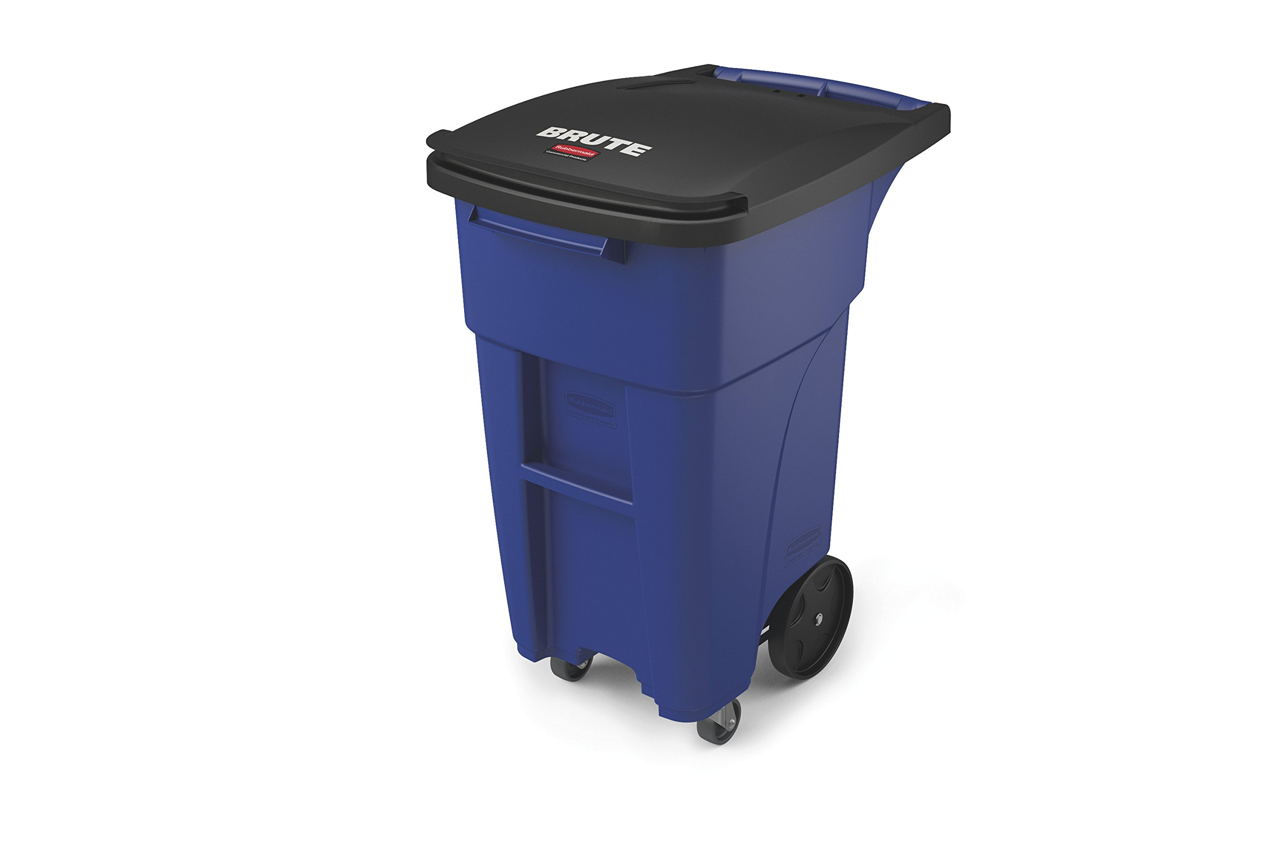 Rubbermaid Commercial 1971949 Brute Rollout Trash Can with Casters, 32 gal/120 L, 37.160'' Height, 20.620'' Width, Blue