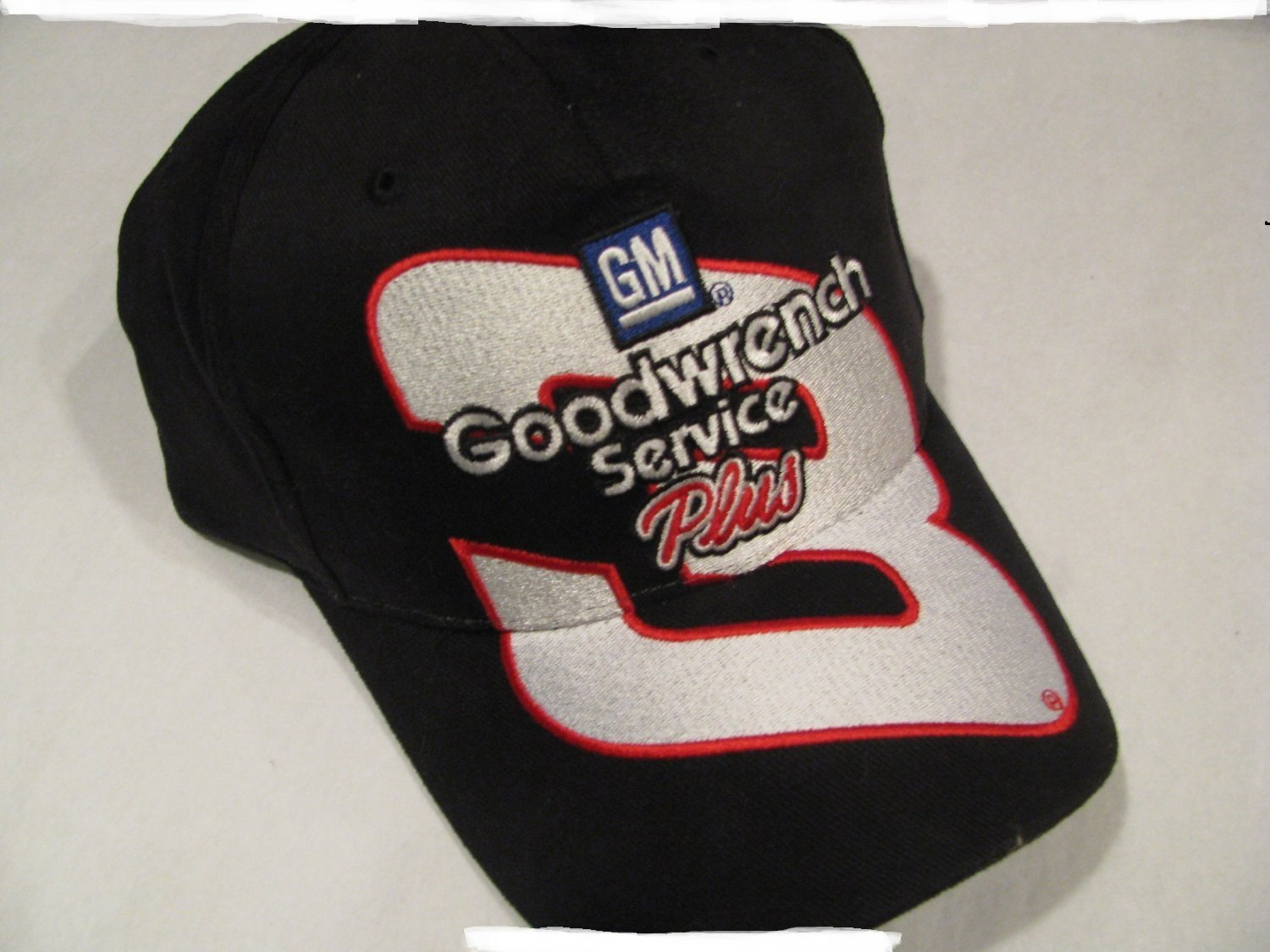 Dale Earnhardt Sr #3 GM Goodwrench Service Large #3 On Brow of Hat Black With Red White Accents Hat Cap One Size Fits Most OSFM Adjustable Plastic Snapback Strap Chase Authentics