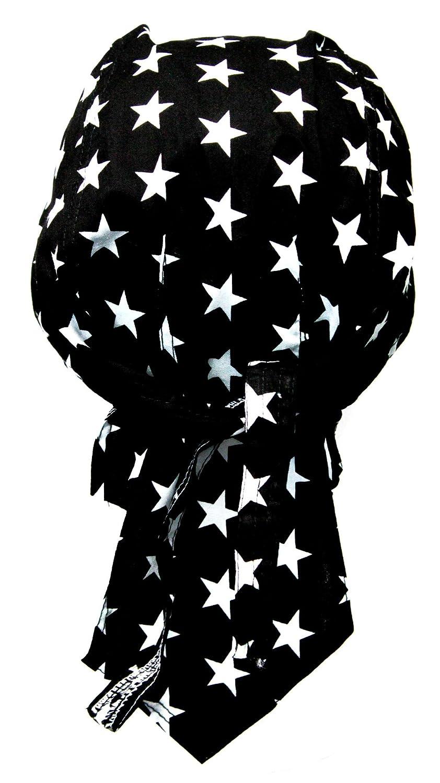 Bandana préformé serrage ajustable 100 % coton pour motard, paintball, foot et autres sports - noir dessin etoiles