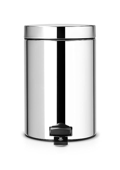 Brabantia Pedal Bin - Cubo de Basura, 3 litros, Cubo Interior de plástico extraíble, Acero Brillante