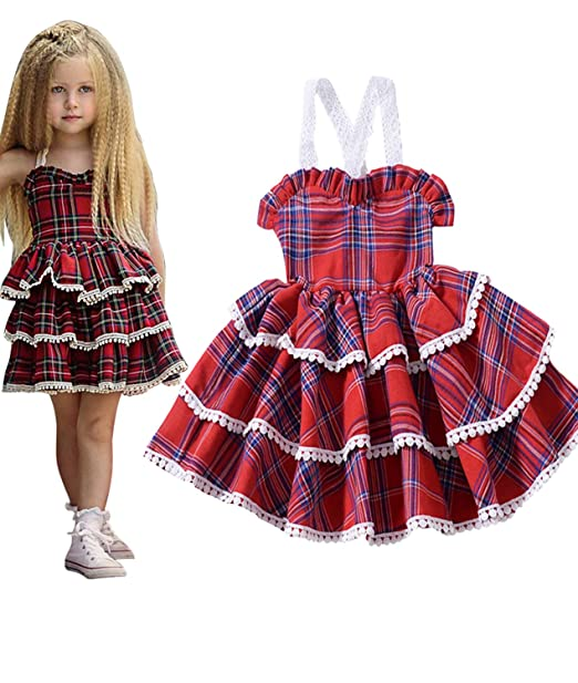 a54221e8d Amazon.com: Toddler Baby Girl Birthday Wedding Party Dress Princess Lace  Plaid Tiered Skirt Spring Outfit Set: Clothing