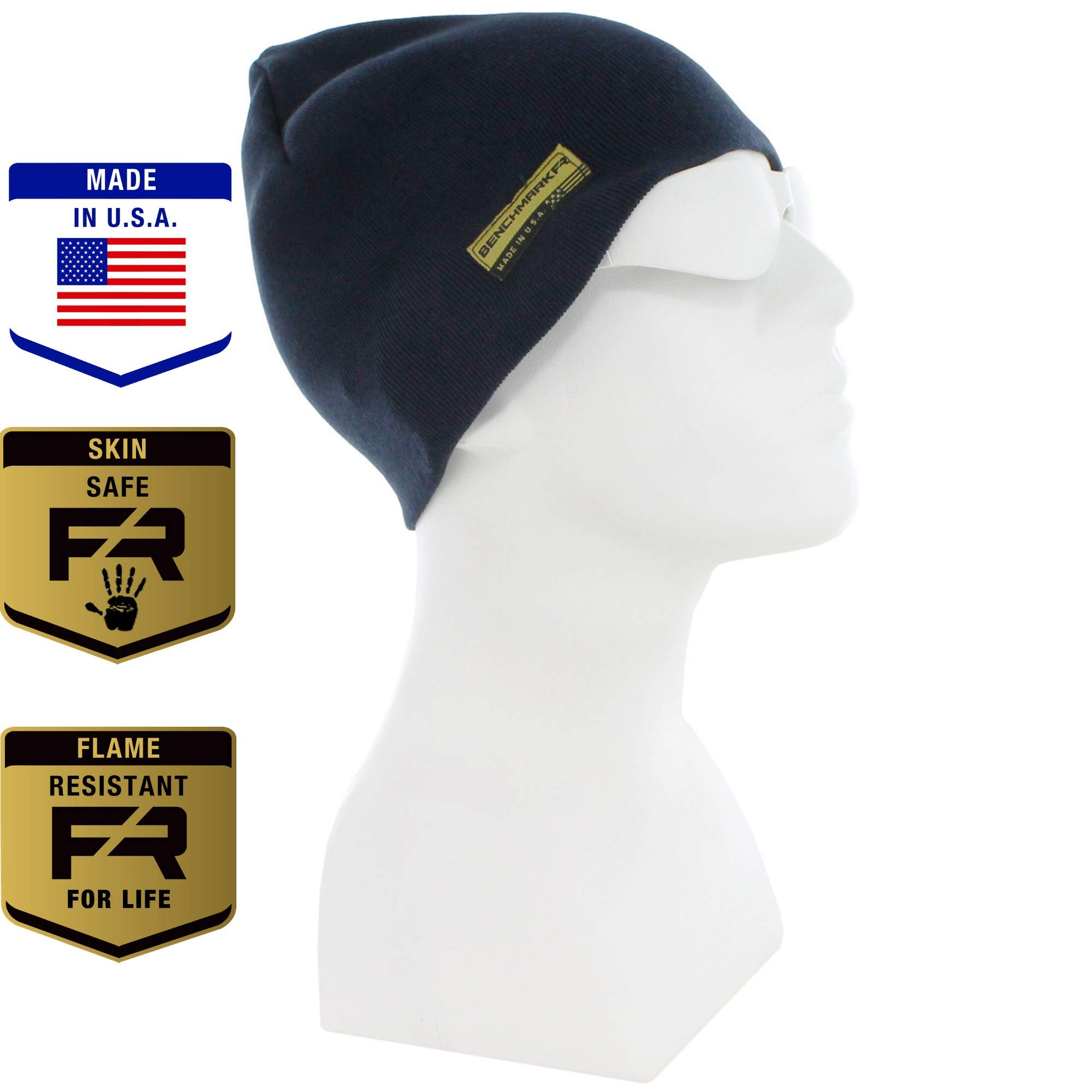 Benchmark FR Flame Resistant Skull Cap, Navy, Men's CAT 3 FRC with 36 Cal Rating, Warm, Made in USA, Inherent FR Materials