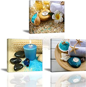 SPA Wall Art Decor for Bedroom, SZ Still Life Canvas Prints of Blue Sands, Candles & Stones, Massage Treatment Pictures (Waterproof Artwork, 1