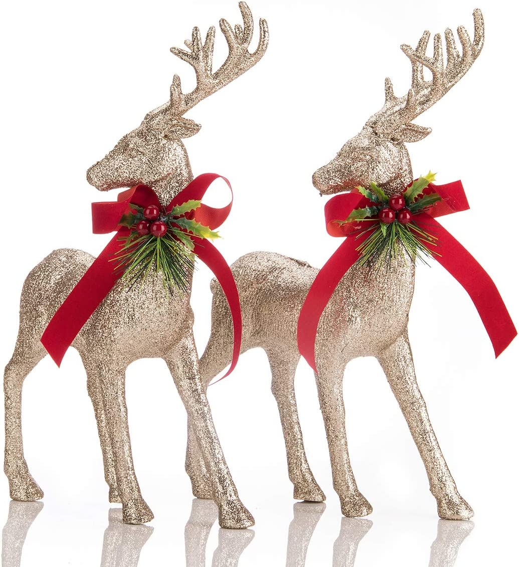 ARCCI 2 Sets Standing Reindeer Decorations Christmas Deer Figurines, Champagne Gold Reindeer Figure for Table top Shelf Office Desk Winter Decor - Xmas Ornaments