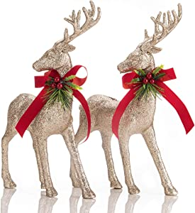 ARCCI 2 Sets Standing Reindeer Decorations Christmas Deer Figurines, Champagne Gold Reindeer Figure for Table top Shelf Office Desk Winter Decor - Xmas Ornaments