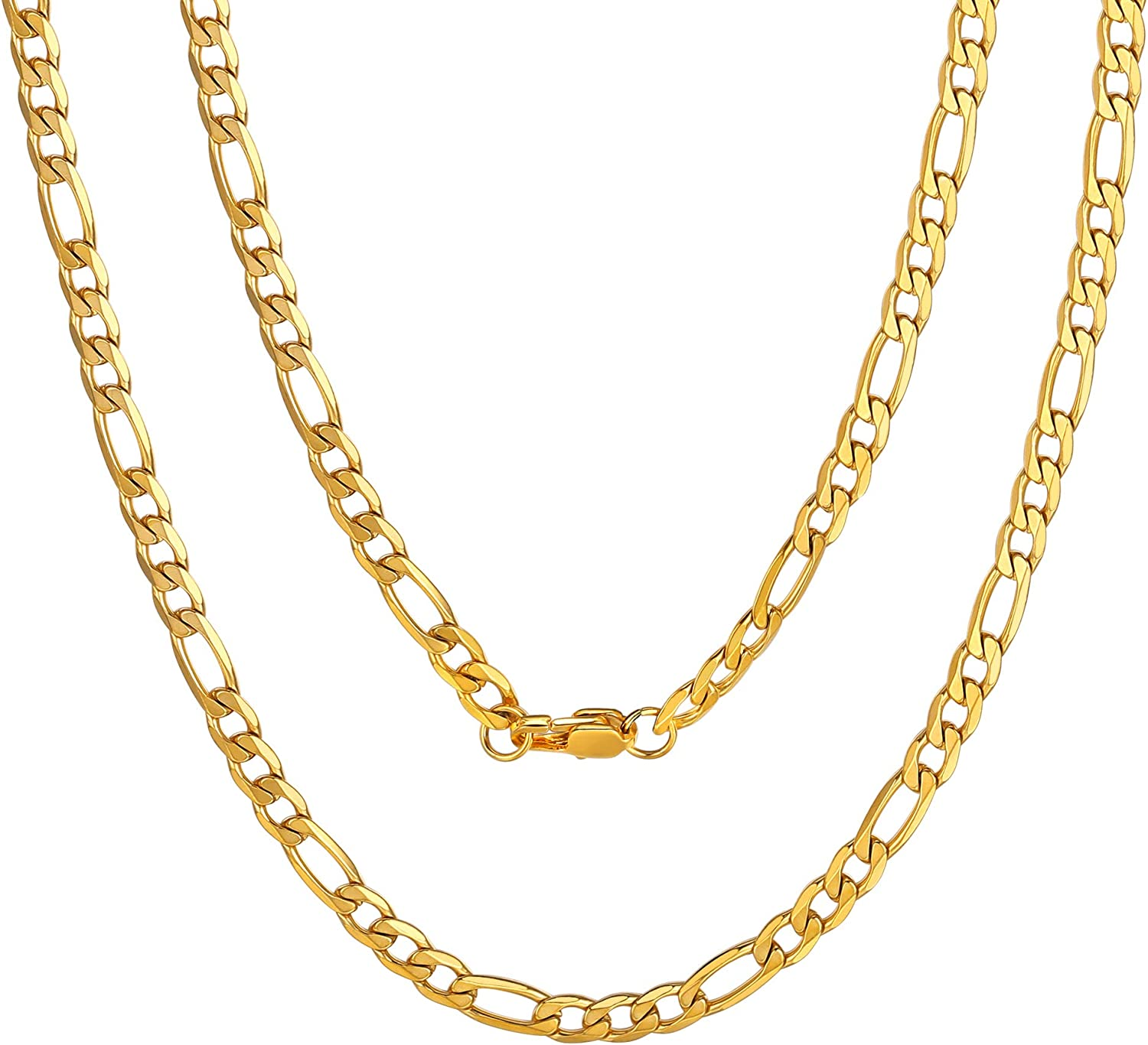 """ChainsPro Mens NK 3:1 Figaro Chain Necklace-4/6/7.5/9/13MM Width, 18K Gold Plated/316L Stainless Steel/Black, 18-30"""" (Send Gift Box)"""