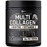Premium Collagen Peptides Powder (1, 2, 3, 5 & 10) Multi Collagen Protein + Vitamin C + Biotin + Hyaluronic Acid - Collagen P