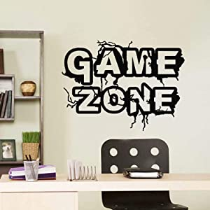 BATTOO Game Zone Vinyl Wall Decals Game Wall Stickers, Die Cut Removable Art Decals Gamers Words Wall Decor for Boys Room Home Playroom Bedroom Gaming Room Decoration(22