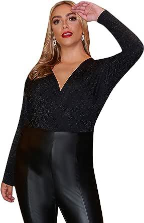 Floerns Women's Plus Size Bodysuit Long Sleeve Glitter V Neck Bodysuit