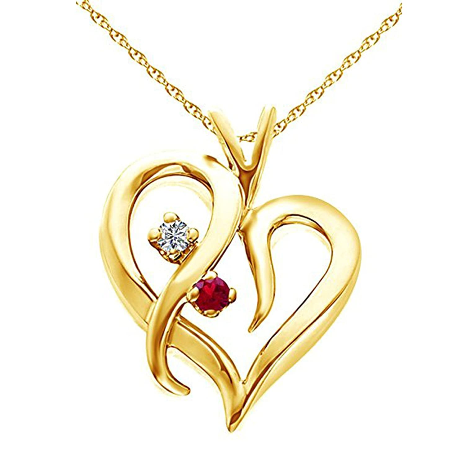 Ashley Jewels Simulated Diamond Studded Elegant Fashion Charm Heart Heart Pendant Necklace in 14K Yellow Gold Plated With Box Chain