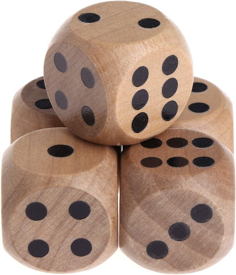 Exing Dados 6 Caras,5 Unidades D6 Dados De Madera Número De Fiesta Mahjong O Punto De Esquina Redonda Juego De Juguetes para Niños