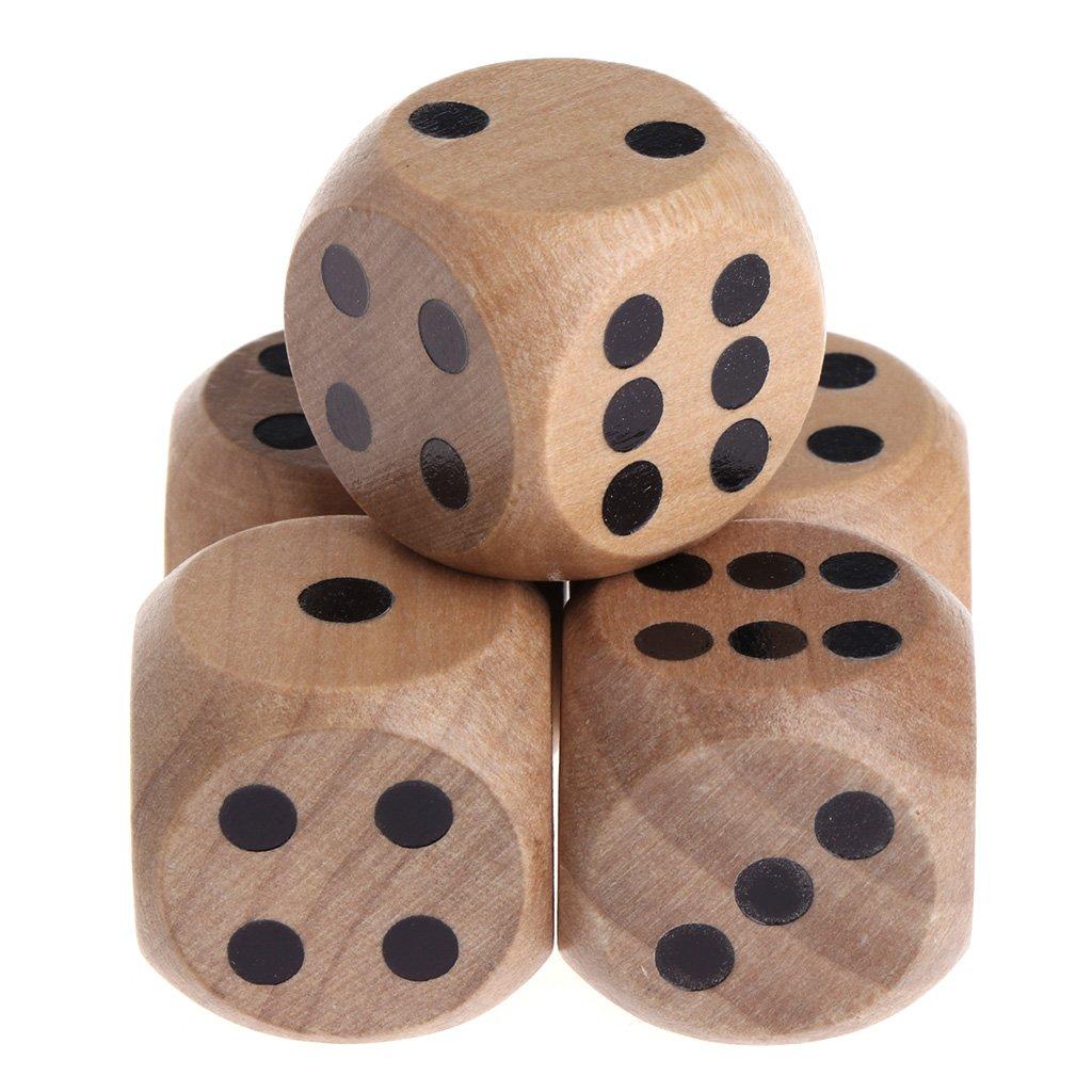 Exing Dados 6 Caras,5 Unidades D6 Dados De Madera N/úmero De Fiesta Mahjong O Punto De Esquina Redonda Juego De Juguetes para Ni/ños
