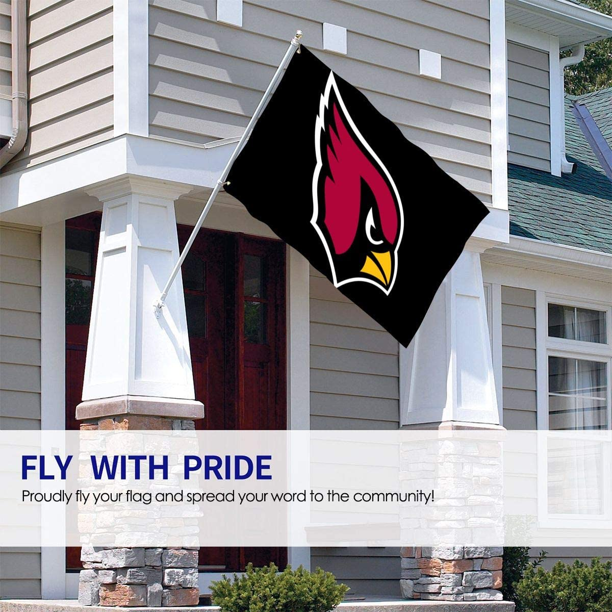 Angelsept Arizona Cardinals Flag 3x5 ft Polyester UV Fade Resistant Banner Flag for College Football Games Fraternities Parties Dorm Room Outdoor Indoor Sport