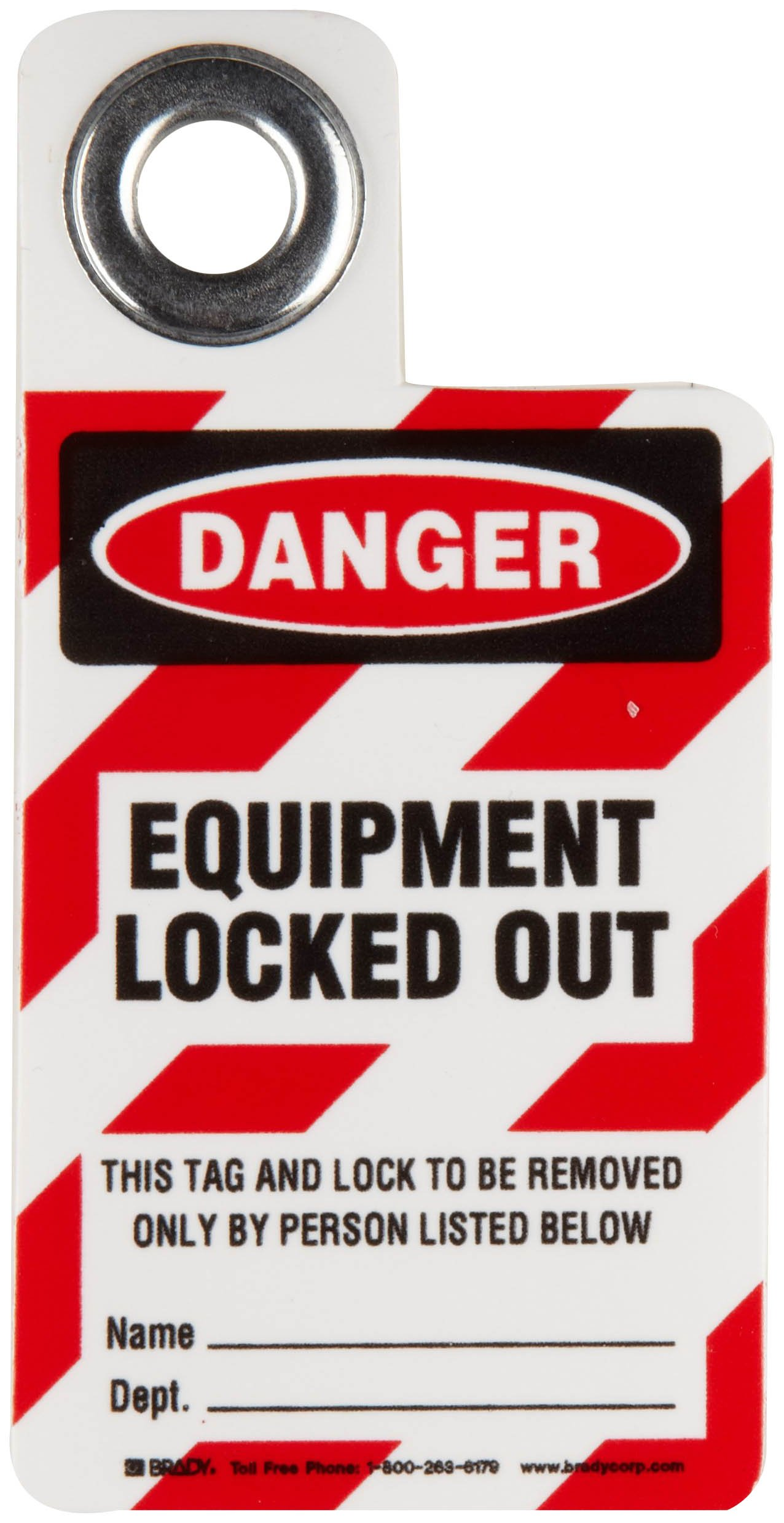 Brady Padlock ''Danger - Equipment Locked Out'' Tag, Vinyl, 3'' Height, 2'' Width